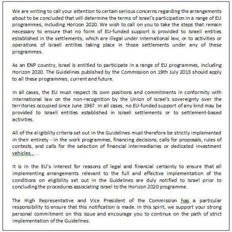 MEPs letter re israeli settlements