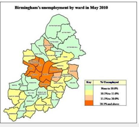 city unemployment by ward 2010 map