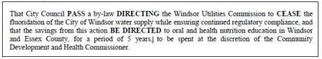 windsor ontario fluoridation text