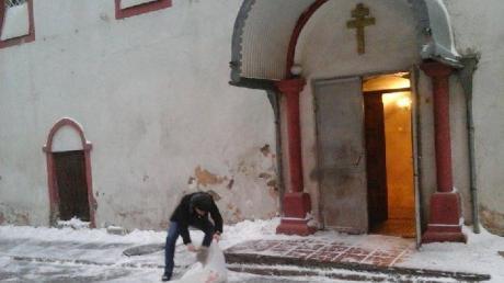 clearing snow church