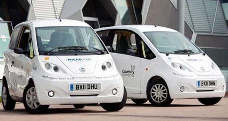 Microcab's fleet of zero emission H2Evs: 55mph top speed,180 mile range on full tank