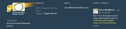 voices war peace footer