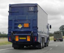 nuclear mareials lorry labelled