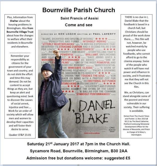 "St Francis Apartments Birmingham Al: ""I Daniel Blake"" Film Showing In Bournville: 21.1.2017"